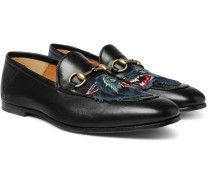 Brixton Horsebit Collapsible-heel Appliquéd Leather Loafers - Black
