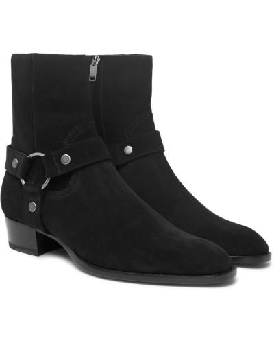 Saint Laurent Herren Wyatt Oiled-suede Harness Boots Verkauf Bestseller Offiziell Frei Verschiffen Spielraum ZExzHU8