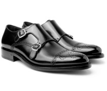 Bristol Polished-leather Monk-strap Shoes - Black