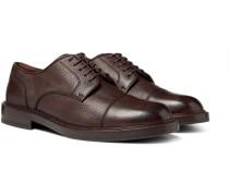 Cap-toe Full-grain Leather Derby Shoes - Dark brown