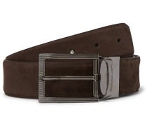 3.5cm Brown and Black Reversible Nubuck and Leather Belt