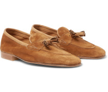 Portland Leather-trimmed Suede Tasselled Loafers - Tan
