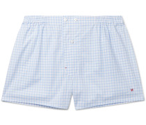 Windowpane-Checked Cotton Boxer Shorts