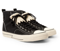 Skagway Fringed Leather-trimmed Canvas High-top Sneakers