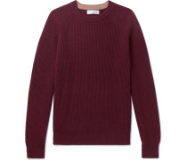 Ribbed Cashmere Sweater - Burgundy