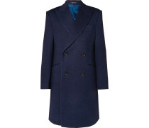 Double-Breasted Mélange Wool-Jersey Overcoat