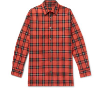 Oversized Leather-trimmed Checked Denim Shirt