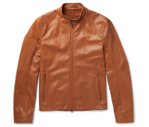 Slim-fit Leather Racing Jacket