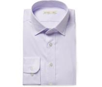 Sky-blue Slim-fit Cutaway-collar Textured-cotton Shirt