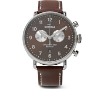 Canfield Chronograph 43mm Stainless Steel And Leather Watch - Brown