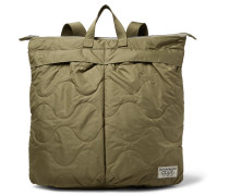 Helmet Quilted Shell Convertible Tote Bag - Army green