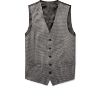 Grey Slim-fit Puppytooth Wool Waistcoat