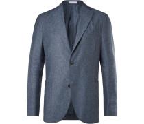 Light-blue And Grey Mélange Silk And Linen-blend Blazer