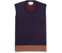 Logo-jacquard Wool And Alpaca-blend Sweater Vest - Navy