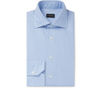 Light-Blue Cutaway-Collar Checked Cotton Shirt