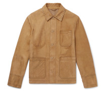 Studded Intrecciato-detailed Suede Blouson Jacket