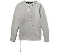Lace-detailed Mélange Bonded-jersey Sweatshirt - Gray