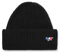 Logo-appliquéd Ribbed Wool Beanie