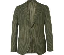 Green Slim-fit Unstructured Striped Linen Blazer