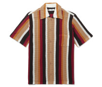 Wes Striped Knitted Cotton Shirt - Tan