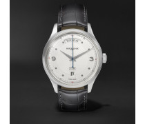 Heritage Automatic Day-date 39mm Stainless Steel And Alligator Watch - White