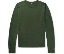 Ernest Canvas-trimmed Knitted Sweater - Dark green