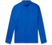 Grandad-collar Cotton-poplin Shirt