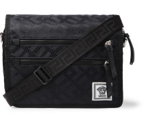 Leather-trimmed Printed Nylon Messenger Bag - Black
