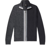 Colour-block Merino Wool Zip-up Cardigan - Gray