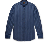 Grandad-collar Striped Cotton-chambray Shirt - Storm blue