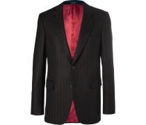 Black Slim-fit Pinstriped Wool-twill Suit Jacket
