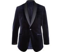 Midnight-blue Hyde Slim-fit Satin-trimmed Cotton-velvet Tuxedo Jacket