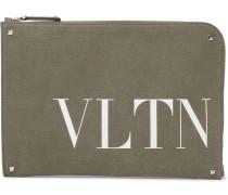 Valentino Garavani Vltn Studded Printed Canvas Pouch