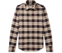 Micky Checked Cotton-flannel Shirt - Brown