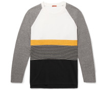 Panelled Cotton-jersey, Brushed-twill And Striped Virgin Wool-blend Sweatshirt