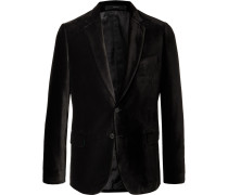Black Soho Slim-fit Velvet Blazer - Black