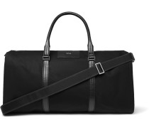 Meridian Cross-grain Leather-trimmed Canvas Suit Carrier And Holdall