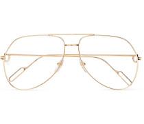 Aviator-style Gold-tone Optical Glasses - Gold
