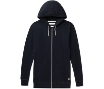 Striped Cotton-jersey Hoodie - Midnight blue