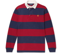 Twill-trimmed Striped Cotton-jersey Polo Shirt