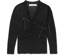 Slim-fit Embroidered Linen Cardigan - Black