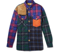 Quilted Panelled Checked Wool-blend Shirt Jacket