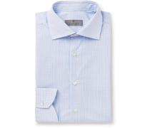 Blue Slim-Fit Micro-Checked Cotton-Poplin Shirt