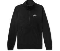 Cotton-blend Jersey Half-zip Sweatshirt - Black