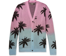 Oversized Palm Tree-intarsia Cashmere And Virgin Wool-blend Cardigan - Pink