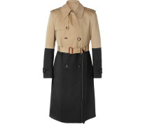 Colour-block Cotton-gabardine And Wool Trench Coat - Beige
