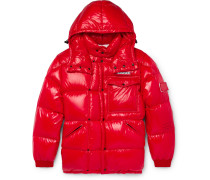 7 Moncler Fragment Anthem Quilted Shell Hooded Down Jacket - Red