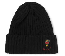 Logo-embroidered Ribbed Wool Beanie - Black