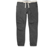 Slim-fit Tapered Mélange Cotton-blend Jersey Drawstring Trousers - Gray