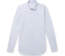 Alfred Button-down Collar Puppytooth Brushed-cotton Shirt - Light blue